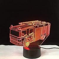 3D LED錯視ランプ 消防車の視覚ライトの装飾の子供の新型のテーブルの夜ライト7色は照明設備を変えます