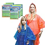 8pc Family Disposable Rain Poncho, Emergency Waterproof Poncho Raincoat, Hooded Poncho for Hiking Travel Picnic Camping Backpacking, waterparks themepark Red, Blue, Yellow, Green - Adult & Child