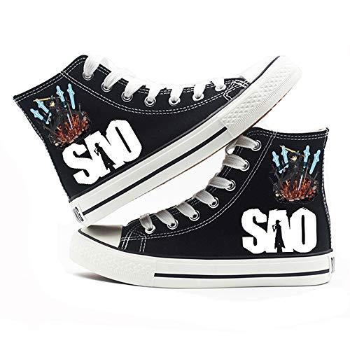 MOANKE Zapatos De Lona para Mujer Zapatos De Mujer Zapatos Casuales De Encaje Retro Blanco Negro Zapatos De Lona con Punta De Goma Blanco Negro SAOSwordArtOnline Black 35