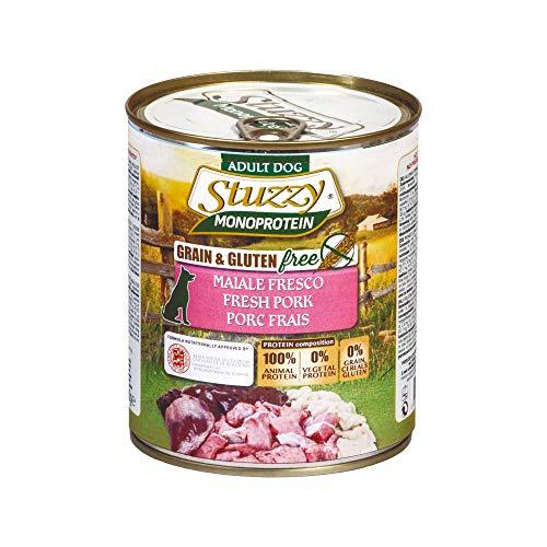 Stuzzy, Cibo Umido per Cani Adulti al Gusto Maiale Fresco, Preparato Monoproteico in Patè - Totale 4,8Kg (6 Lattine da 800G)
