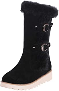 Ninasill Winter Womens Leisure Flock Casual Shoes Round Toe Buckle Keep Warm Snow Boots