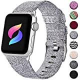 Haveda Fabric Compatible for Apple Watch Series 6 5/4 44mm Band, Soft Wristband for Apple Watch SE, iwatch Bands 42mm Womens, Sport Cloth Dressy for Apple Watch 42mm Series 3 2/1 Men (Light Gray)