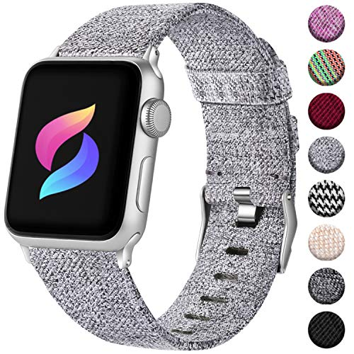 Haveda Fabric Band Compatible for Apple Watch 44mm Series 4 Series 5, Fashion iwatch Bands 42mm Women Nylon Sport Wristband for Apple Watch Series 3, Series 2 1 Men Dressy (Light Gray)
