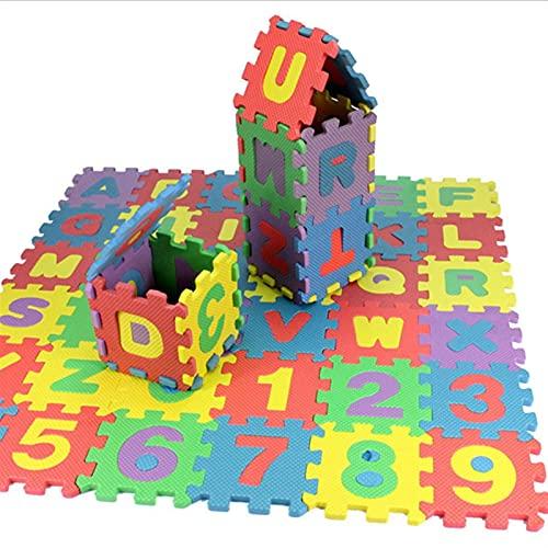LNSGA 36 unids inglés alfanumérico Rompecabezas de los Bloques de Rompecabezas de la Letra Número de rastreo Play Mat Infant Niño Juguete Regalos Bebé Niño Actividad Alfombra