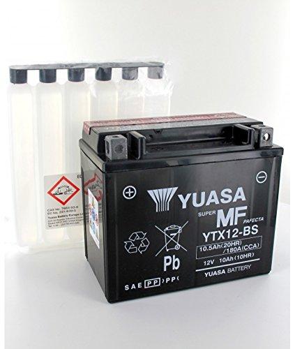 Yuasa - Plomo YUASA YTX12-BS 12V batería de la motocicleta 10.5Ah - YTX12-BS-OR