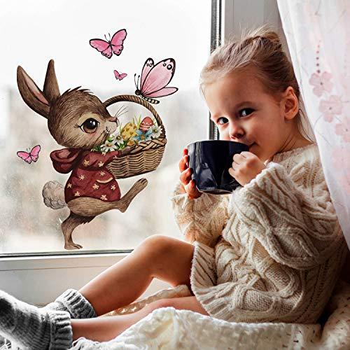 Fensterbilder Fensterbild Fuchs Reh & Hasen mit Pusteblume Osterkorb Ostern wiederverwendbar Fensterdeko bf22 - ausgewählte Farbe: *bunt* ausgewählte Größe: *4. Hase mit Osterkorb*