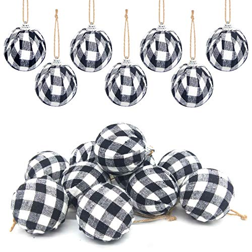 Deloky 16Pcs Buffalo Plaid Fabric Ball- 2.16 Inch Small Christmas Fabric Wrapped Balls Christmas Hanging Ornament for Christmas Tree Party Decoration Supplies (Black&White)