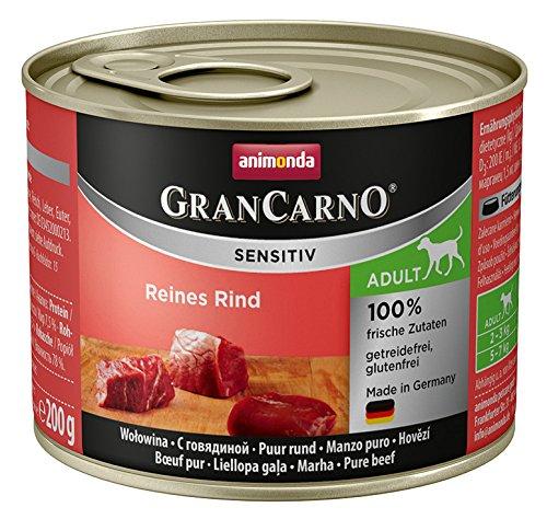 animonda GranCarno Hundefutter Adult Sensitiv, Nassfutter für ausgewachsene Hunde, Reines Rind, 6 x 200 g