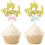 30 PCS Gold Glitter Oh Baby Cupcake Toppers Gender...