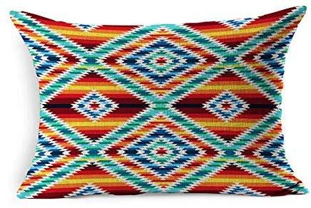 DarrenOw02 - Funda de cojín con diseño tribal peruano geométrico de rombos, abstracto, tribu nacional americano, apache mexicano, zigzag, azteca, rectangular, 16 x 24 pulgadas, para sala de estar, sofá, decoración al aire libre