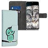 kwmobile Hülle kompatibel mit Huawei P30 Lite - Kunstleder Wallet Hülle mit Kartenfächern Stand Eule Schlaf Türkis Braun Mintgrün