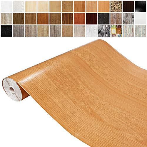 Askol DecoMeister Klebefolien in Holz-Optik Holzfolien Deko-Folien Holzdekor Selbstklebefolie Möbelfolie Selbstklebend Holz-Maserung 45x100 cm Rotbuche