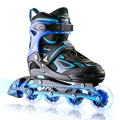 2PM SPORTS Vinal Boys Adjustable Flashing Inline Skates, All Wheels Light Up, Fun Illuminating Skates for Kids and Youths - Azure Large(4Y-7Y US)