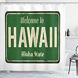 ABAKUHAUS Aloha Duschvorhang, Willkommen in Hawaii Weinlese, Bakterie Schimmel Resistent inkl. 12 Haken Waschbar Stilvoller Digitaldruck, 175x220 cm, Olivgrün & Beige