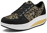 Solshine Walkmaxx - Zapatillas deportivas con cordones y tacón de cuña para mujeres, color Negro, talla 39 EU