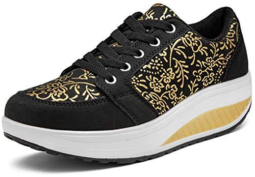 Solshine Walkmaxx - Zapatillas deportivas con cordones y tacón de cuña para mujeres, color Negro, talla 38 EU