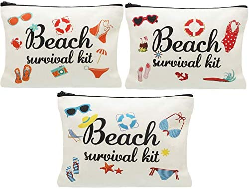 Svee 3 Pieces Beach Survival Kit Cosmetic Bag Travel Bag Pouch Bag Accessories for Birthday product image