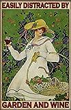 Inga Póster de jardinero de jardín con texto en inglés 'Easy Distracted By Garden And Wine' (20,3 x 30,5 cm)