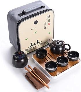 Hoobar Ceramics Kungfu Tea Set, Portable Travel Tea Set, Tea Pot, Tea Cup, Tea Pot, Tea Tray and Travel Bag, Suitable for ...