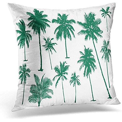 Coco Realistic Black Silhouet Tropische Palmen op witte premium kussenslopen voor het slapen in trechter.