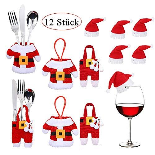 12 Stück Weihnachten Besteckhalter Tischdekoration Set, 6PCS Weihnachten Besteckhalter mit 6PCS Karte Weihnachtsmannmützen, Weihnachten Dekoration Besteck Kostüm kleine Hosen und Deko für Weingläser