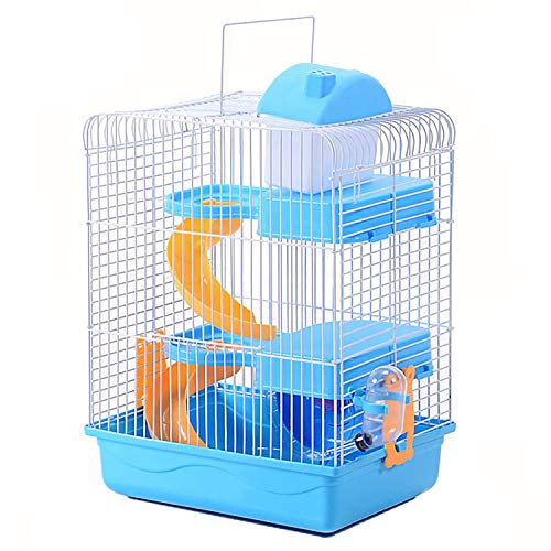 3-Tier Portable Travel Cage for Small Animals, Dwarf Hamster Travel Carrier with Carry Handle Exercise Wheel Kettle Food Dish, 10.6 x 8.2 x 17.7 Inch (Blue)