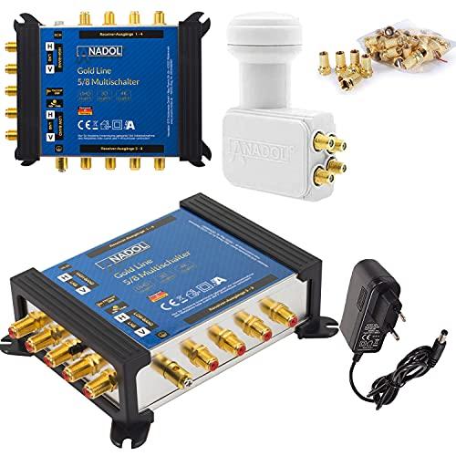 [Test 4X SEHR GUT*] LNB + MULTISCHALTER Set: Anadol Gold Line 5/8 digitaler Multischalter für 1 Satellit - 8 Ausgänge/Receiver + Anadol Quattro LNB 21 F-Stecker gratis