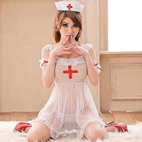 LI SHI XIANG SHOP Sexy Unique Nurse Uniform Set Juego de rol Blanco Angel Temptation Underwear Sweet White Lingerie