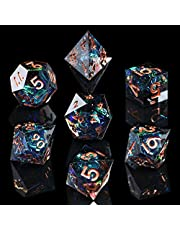 AUSPDICE DND Dice Set Handcrafted Designer 7-Die Polyhedral RPG Dice Set with Sharp Edges and Beautiful Inclusions for Aesthetic Conscious Tabletop RPG Player Galaxy Series