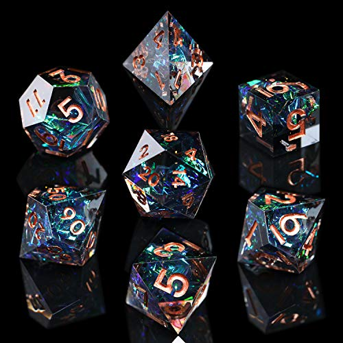 AUSPDICE DND Dice Set Handcrafted Designer 7-Die Polyhedral RPG Dice Set with Sharp Edges and Beautiful Inclusions for Aesthetic Conscious Tabletop RPG Player Galaxy Series (Dark Color)