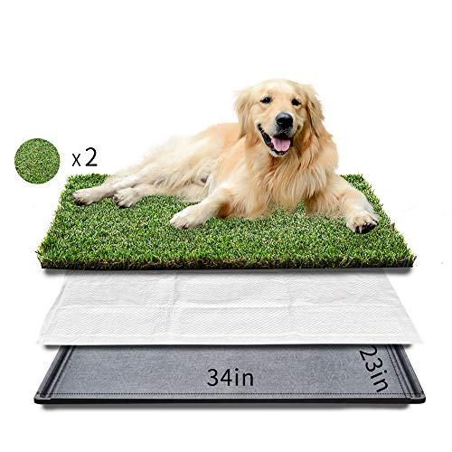 HQ4us Dog grass Large Dog Litter Box Toilet (3423), 2Artificial Grass for Dogs, Tray ,Pee pad, Realistic, Bite Resistance Turf, Less Stink, Indoor Potty Training,HQ4us 4Legs