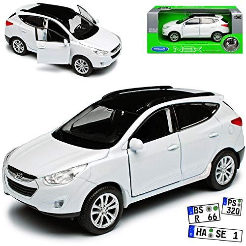 Hyundai Tucson IX Weiss 2. Generation 2009-2015 ca 1/43 1/36-1/46 Welly Modell Auto mit individiuellem Wunschkennzeichen