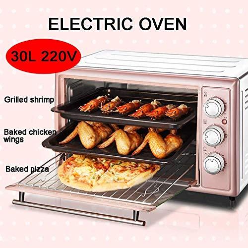 30L 220V kleine huishoudelijke Oven, Multi-Function Cake Brood Mini Small Electric Roaster, verstelbare tijd en temperatuur, met Rotating Roosteren Fork, is uw, roze, roze 8bayfa (Color : Pink)