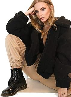 iTLOTL Women's Lapel Long Sleeve Faux Shearling Coat Winter Boyfriend Winter Faux Coat