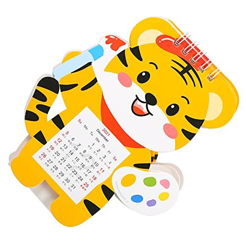 HEALLILY Calendario de Escritorio 2022 Calendario del Año del Tigre Calendario de Escritorio Mini Calendario de Mesa de Pie Calendario Abatible Mensual para El Planificador de Horario de