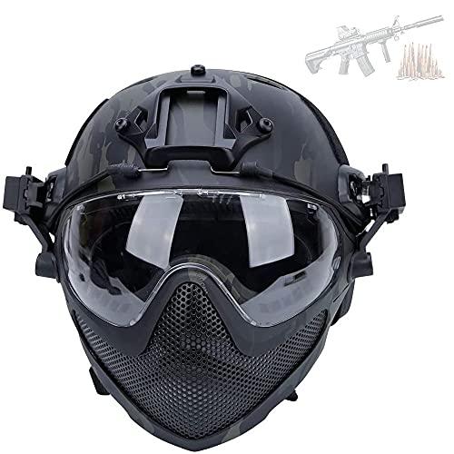 Casco Protector De Airsoft, Casco Integrado con Protector Facial Extraíble Fuerte Resistencia Al Impacto 600FPS con Gafas Malla De Acero Versión De Acción Táctica Casco