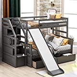 Twin Over Full bunk Bed with Drawers,Storage and Slide - Twin Over Full Bed...