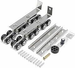 MLZWS 2 stks Deurwielen Roller 12 Wielen Hangers Roller Meubels Koudgerolde Stalen Glijdende Houten Deurkast Hardware Mute...