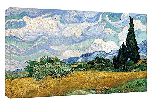 MicktorCo Stampe su Tela Campo di Grano con Cipressi di Vincent Van Gogh della Parete di Arte, pitture a Olio di Alta qualit¨¤ per la Decorazione Domestica (60cm x 90cm) (Unframed)