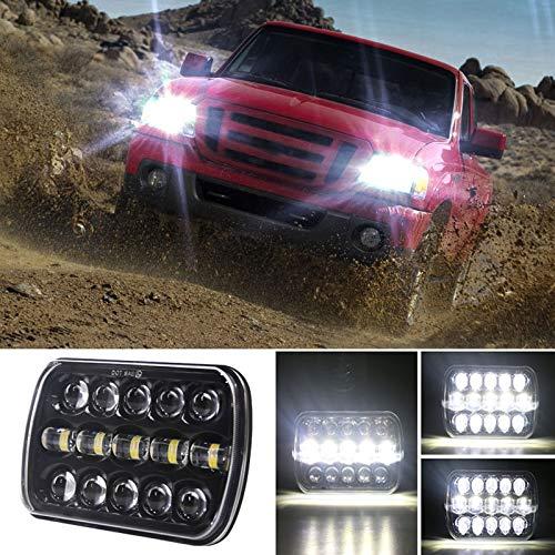 Xyamzhnnn Lámparas de Faros LED de Forma Cuadrada IP67 para Jeep Wrangler, 7 Pulgadas H4 DC 9V-30V 5000LM 6000K 45W