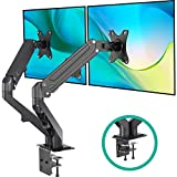 EleTab Dual Arm Monitor Stand - Height Adjustable Gas Spring Monitor Desk Mount with C Clamp Mounting Base for...