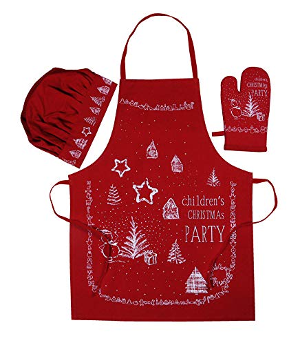 AMOUR INFINI Christmas Party 3 Pack Kids Kitchen Set | 100% Cotton | Set of Apron, Chef Hat and Oven Mitt | Perfect for Children's Kitchen Cooking, Baking Wear Kit and Christmas