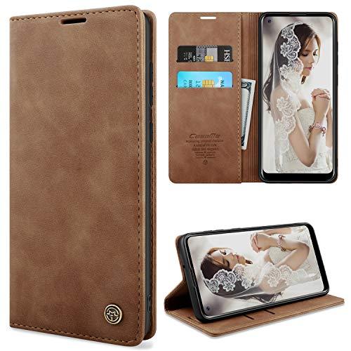 YIRSUR Kompatibel mit Samsung Galaxy A21s Hülle Premium Leder PU Flip Hülle Wallet Lederhülle Handyhülle Klapphülle Magnetisch Silikon Bumper Schutzhülle Kompatibel mit Samsung Galaxy A21s (Brown)