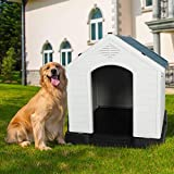 """LONABR Plastic Outdoor Dog House with Door for Pet Weatherproof Kennel Small to Large Size,Blue & White (L-35.5' L x 37.5' W x 39""""H)"""