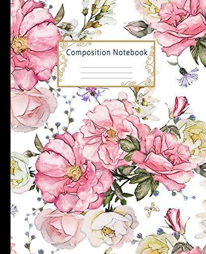 Composition Notebook: Wide Ruled Lined Paper Notebook Journal: Watercolor Pink Roses Workbook for Boys Girls Kids Teens Students for Back to School and Home College Writing Notes
