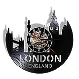 qweqweq Gran Bretaña Torre de Londres City Skyline Reloj de Pared con Disco de Vinilo Paisaje Urbano de Inglaterra Reloj Negro Ligh