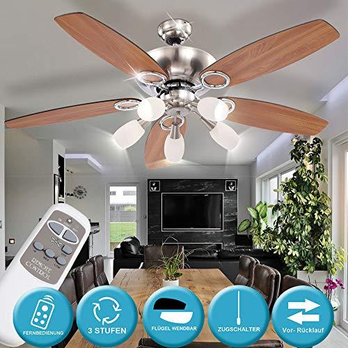 etc-shop Decken Ventilator Zugschalter Beleuchtung Lampe Leuchte DIMMBAR Lüfter Kühler inkl. Fernbedienung