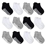 12 Pairs Anti Slip Baby Ankle Socks with Non Skid Grips for Toddler Kids Boys Girls (12Pairs - Black,White,Grey, 18-36 Mouths)