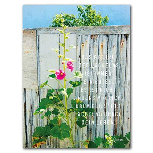 Glücksvilla Das Gefühl des Lächelns Künstlermotiv, 90 x 120 cm, Wandbild als XXL-Druck auf Acrylglas. Zitat Wort Sprichwort Worte Glücksworte Poesie Malve Rose rot weiß blau Bild groß Liebe Kunst