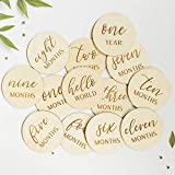 Baby Monthly Milestone Wooden Engraved Photo Props Milestone Discs Milestone Cards Baby by The Month Milestone Blocks Baby Boy Baby Girl Newborn Gifts Baby Age Pictures Baby Shower (Birch)